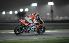Download wallpapers 4k, Andrea Dovizioso, night, raceway, MotoGP, 2018 bikes, biker, sportbikes, Qatar GP, Ducati GP18, motorcycle racer, Ducati, Ducati Team