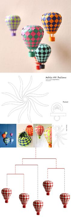 Hot Air Balloon Mobile-- great craft for kids Origami Paper, Diy Paper, Paper Art, Paper Crafts, Origami Lamp, Kirigami, Fun Crafts, Diy And Crafts, Crafts For Kids