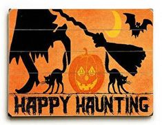 This Happy Haunting Halloween wood sign by Artist Jill Meyer is a fun and colorful addition to your Halloween decor.