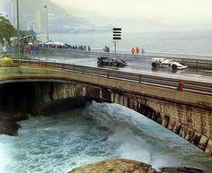 Great shot of the Portier corner on the harbor. Ayrton Senna leading Elio DeAngelis into the tunnel at Monaco