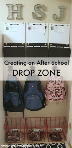 Learn how to create an After-School Drop Zone and how to handle the bazillion school papers that come home every day! #homeschoolingroomorganization