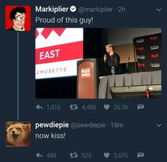 Markiplier Tweets about Jacksepticeye during his Panel at PAX East 2017 | PewDiePie is Septiplier Trash #1 | if you were wondering, that really is Pewds, at around March his blue checkmark disappeared