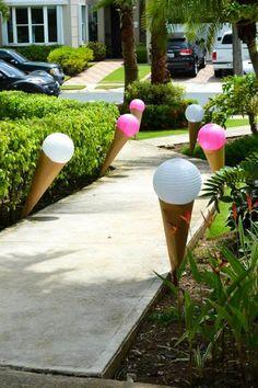 Minnie Mouse Ice Cream Party full of cute ideas via Kara's Party Ideas : Outdoor Decos