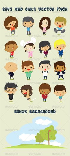 Boys & Girls Character Design Vector Pack