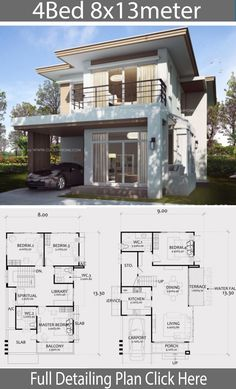 Home Design Plan with 4 Bedrooms. – Home Design with Plansearch Home Design Plan mit 4 Schlafzimmern. 2 Storey House Design, Duplex House Design, Duplex House Plans, House Front Design, Small House Design, Modern House Design, Modern House Floor Plans, Small House Plans, Big Modern Houses