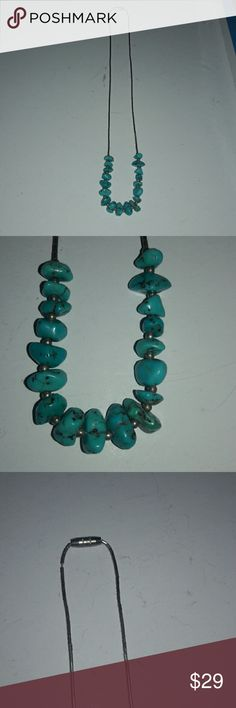 "Vintage turquoise sterling liquid silver necklace Gorgeous colored turquoise necklace! Amazing craftsmanship and quality. Tumbled and polished genuine stones. Aprox. 16"" in length. Please ask any questions. Thank you! Jewelry Necklaces"