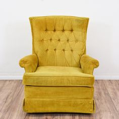 This vintage armchair is upholstered in a soft, yellow-green suede fabric. This retro recliner has a tufted back, skirt, and comfortable seat cushion. Perfect for the living room! Garden Table And Chairs, Dining Table Chairs, Arm Chairs, Green Velvet Fabric, Suede Fabric, Vintage Chairs, Vintage Furniture, Vintage Armchair, Lazy Boy Recliner