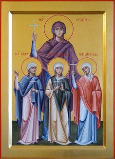 Saint Sophia & her daughters Faith, Hope & Love Byzantine Icons, Byzantine Art, Serbia And Montenegro, Divine Mother, Orthodox Christianity, Religious Images, Catholic Saints, Orthodox Icons, Ikon