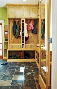 Mudroom idea-love the cupboards on top