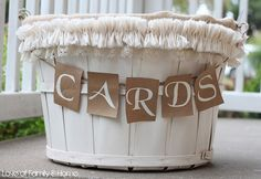 this basket was used for a wedding reception and placed on the gift table for people to put their cards in (of course)...cute rustic wedding decor!