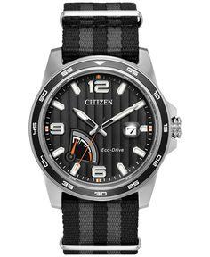 Citizen Men's Eco-Drive Sport Black and Gray Nylon Nato Strap Watch 41mm AW7030-06E