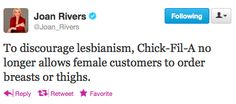 Joan Rivers Delivers The Chick-fil-A Joke We've Been Waiting For