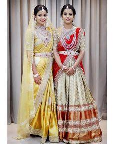 15 Stunning Bride-Sister Portraits- Part Half Saree Designs, Sari Blouse Designs, Bridal Blouse Designs, Lehenga Designs, Blouse Patterns, Mehndi Designs, Half Saree Lehenga, Lehnga Dress, Bridal Lehenga