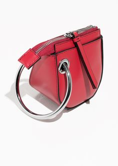 amp  Other Stories image 2 of Leather Saddle Clutch in Red Bolsas Jeans 459b49bf1561a