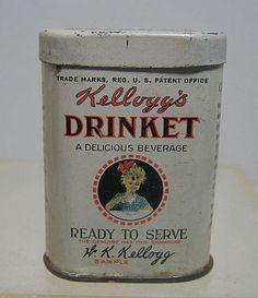 vintage 1915 Sample Kellogg`s Drinket Miniature TIN