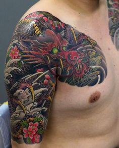 Artist : Kenji Shigehara #irezumi #dragon #ryu #tattoo #halfsleeve