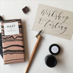 Quill Workshop 2016: Mast Brothers Chocolate Tasting With Modern Calligraphy. www.quilllondon.com