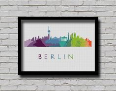 BOGO Cross Stitch Pattern Berlin Germany Europe City Silhouette Watercolor Effect Painting Decor Embroidery Rainbow Color Skyline xstitch