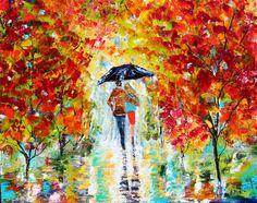 Original oil painting Autumn Rain RomanceLandscape palette knife impastomodern texture fine art impressionism by Karen Tarlton