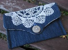 DIY Lace Denim Clutch. Get the tutorial