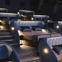 A new concept cinema has opened in Switzerland in which viewers recline in double beds rather than traditional seats. Home Theater Room Design, Movie Theater Rooms, Home Cinema Room, Home Theater Seating, Home Room Design, Dream Home Design, Modern House Design, Home Interior Design, Bed Cinema