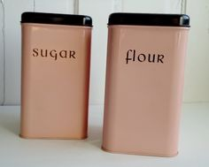 1950s Pink and Black Kitchen Canisters Sugar by SwirlingOrange11, $28.00