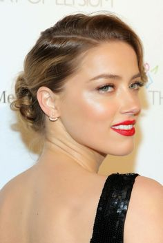 Amber Heard red lip with radiant skin