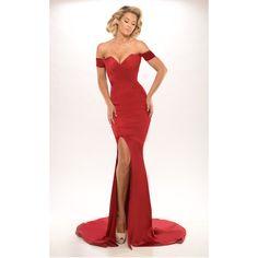 Portia & Scarlett Australian Designer Karen Red Formal Dress ($459) ❤ liked on Polyvore featuring dresses, red zipper dress, checkered dress, red checked dress, formal occasion dresses and off shoulder dress