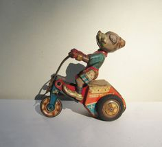 Tricky Tricycle  Original Antique Tin Toy  by JamesRoadVintage