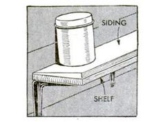 """""""Jars of bolts and screws that are placed on shelves near power tools often are shaken off the shelf because of vibration from the machinery,"""" according to our July 1946 issue. Clapboard siding, then and now, is beveled. The end that would face downward on a home's exterior is wider than the end facing upward. Nail the siding to the shelf with the flat face down and the wide end at the shelf's edge. This tilts the shelf toward the wall."""