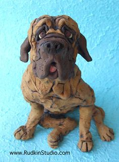 Mastiff Dog in Sloppy Sit Ceramic Sculpture