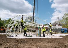 New construction images show this year's colourful Serpentine Gallery Pavilion by Spanish architects José Selgas and Lucía Cano, which is rapidly nearing completion ahead of its opening next week.