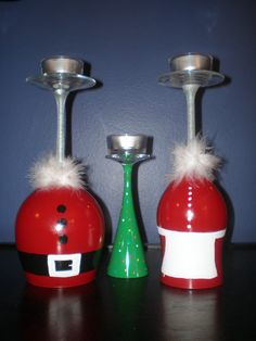 Oh how easy these would be to make!!!  Santa Wine Glass Candle Holder by KLT1980 on Etsy, $18.00