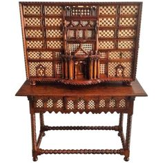 FCBTC / Original 17th Century Spanish Bargueno, Cabinet on Stand, Vargueño. Walnut. $32,000.00