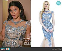 Bachelorette Jane's blue beaded dress on Jane the Virgin.  Outfit Details: http://wornontv.net/53020/ #JanetheVirgin