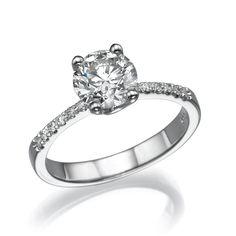 Round Cut Diamond Engagement Ring 14k White Gold Certified 0.88 CT I/SI2 #ZamirDiamonds #SolitaireWithSideStones