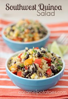 Southwest Quinoa Salad- so healthy and delish!  Perfect for Packing in my lunch!