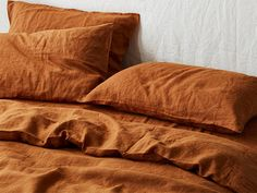 Ultra luxurious 100 pure French linen quilt cover in Ochre Linen Sheets, Bed Linen Sets, Bed Sheets, Linen Bedroom, Linen Bedding, Bed Linens, Bedding Sets, Bedroom Decor, Bedroom Curtains