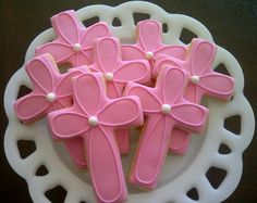 Decorated Cross Cookies | Girl or Boy Cross Decorated Sugar Cookies For Baptism ... | Cookies