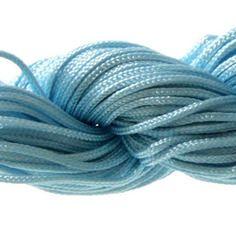 Lot 5m cordon nylon spécial shamballa bleu ciel 1mm