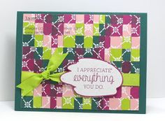 "Created by Stampin' Up! supplies: ""Just Add Text""  stamp set (w-143931,c-143934) Fresh Floral DSP paper stack (144131) 1/2"" Finely Woven Ribbon (Lemon Lime Twist 144135) Multi purpose adhesive sheets (144106) White embossing powder Versamark ink heat tool"