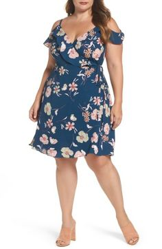 Free shipping and returns on City Chic Lulu Floral Wrap Dress (Plus Size) at Nordstrom.com. Floral print goes full-on flirty with this stretch-crepe wrap dress cut to show off your best assets—including sexy shoulders. Adjustable shoulder straps and side ties at the waist customize a just-right fit for you.