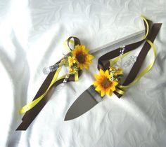 Sunflower wedding Cake Service Set by ChurchMouseCreations on Etsy