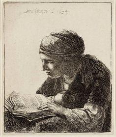 "Rembrandt van Rijn ""A Young Woman Reading,"" 1634 etching. Rembrandt Etchings, Rembrandt Drawings, Rembrandt Art, Rembrandt Paintings, Baroque Art, Dutch Painters, Woman Reading, Reading People, Art Institute Of Chicago"