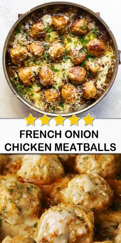 French Onion Chicken Meatballs We think everything can be improved by adding meatballs to it. Chicken Meatball Recipes, Quick Chicken Recipes, Chicken Meatballs, Quick Meals, Meat Recipes, Cooking Recipes, Healthy Recipes, Quick Recipes, Onion Recipes