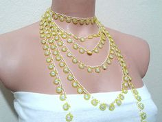 Vintage Beaded Necklace,Yellow Beaded,Green Sequin Necklace,Crochet Bead Lace,Beaded Trim,Womens Accessories,Black Bead Lace,long necklace