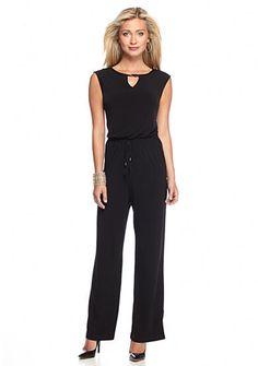 Calvin Klein Solid Tie Waist Jumpsuit