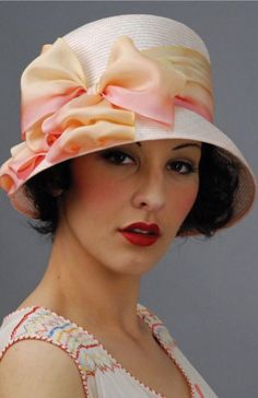 Wide-brimmed Pink Cloche Hat with Satin Bows ....
