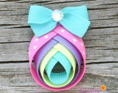 Easter Egg Hair Clip Easter Egg Ribbon Sculpture by Ribbon Hair Clips, Hair Ribbons, Diy Hair Bows, Ribbon Bows, Ribbon Art, Hair Barrettes, Headbands, Egg For Hair, Toddler Hair Clips