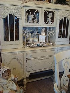 Shabby Chic Painted Antique Hutch China Cabinet.. beautiful